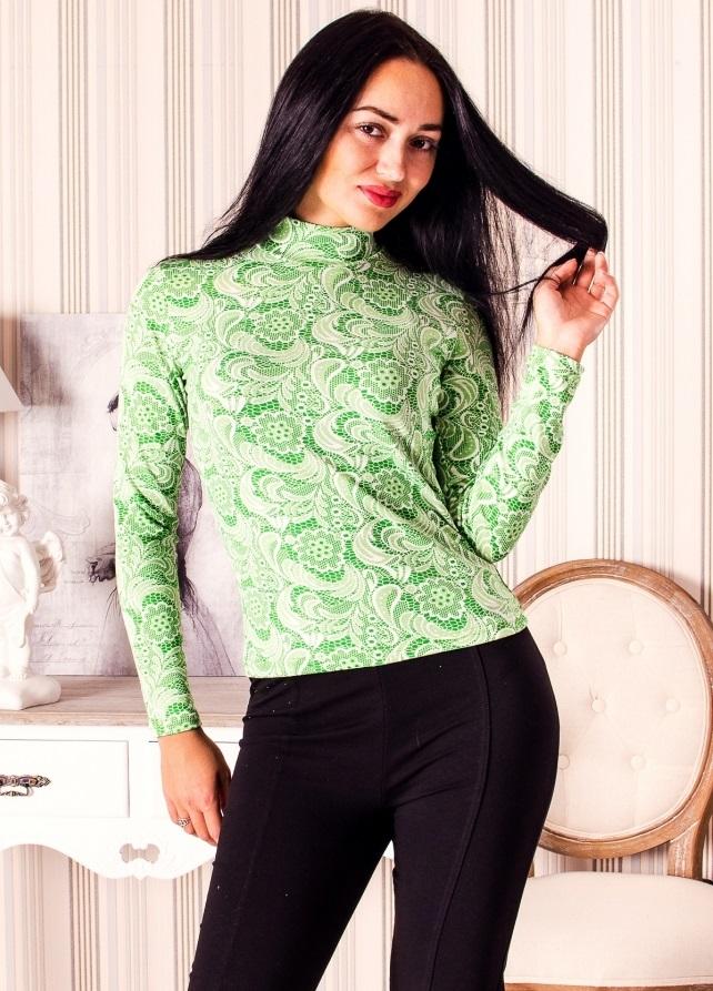 Водолазка женская Кокетка с воротником-стойкойПодарки на День рождения<br><br><br>Размер: Зелёный