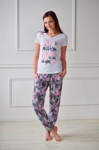 Костюм женский Serenity футболка и брюкиДомашние комплекты, костюмы<br><br><br>Размер: Розовый