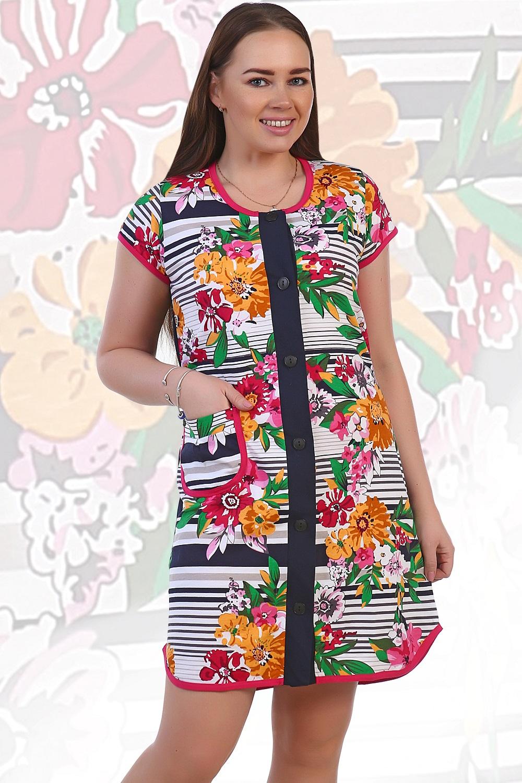 Халат женский Полосы в цветкахКоллекция ВЕСНА-ЛЕТО<br><br><br>Размер: 60
