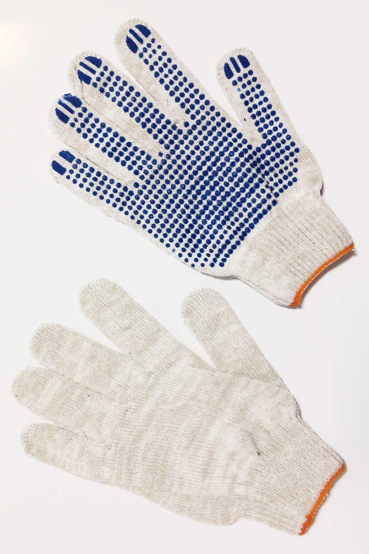 Перчатки белые 10 нитка с ПВХ-протектор (3 пары в упаковке)Перчатки хозяйственные<br><br>