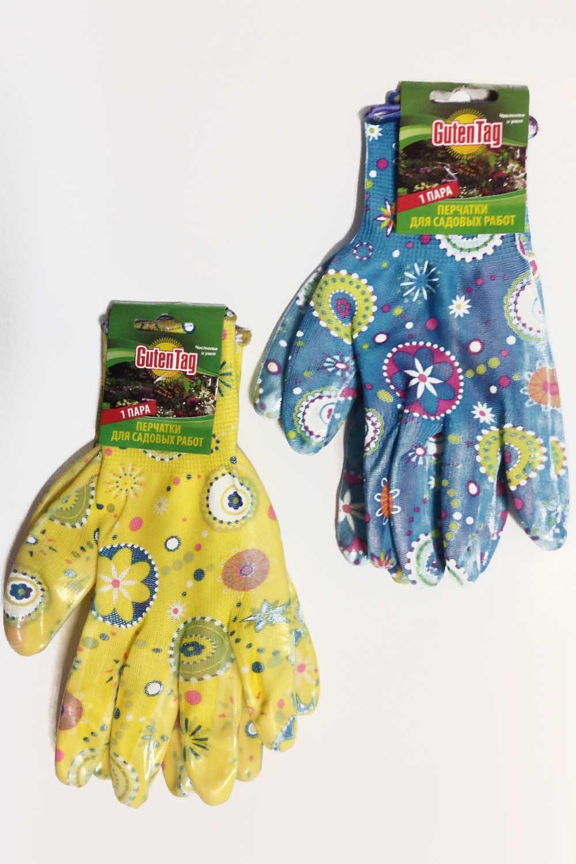 Перчатки садовые цветные прорезиненные (1 пара)Перчатки хозяйственные<br><br>