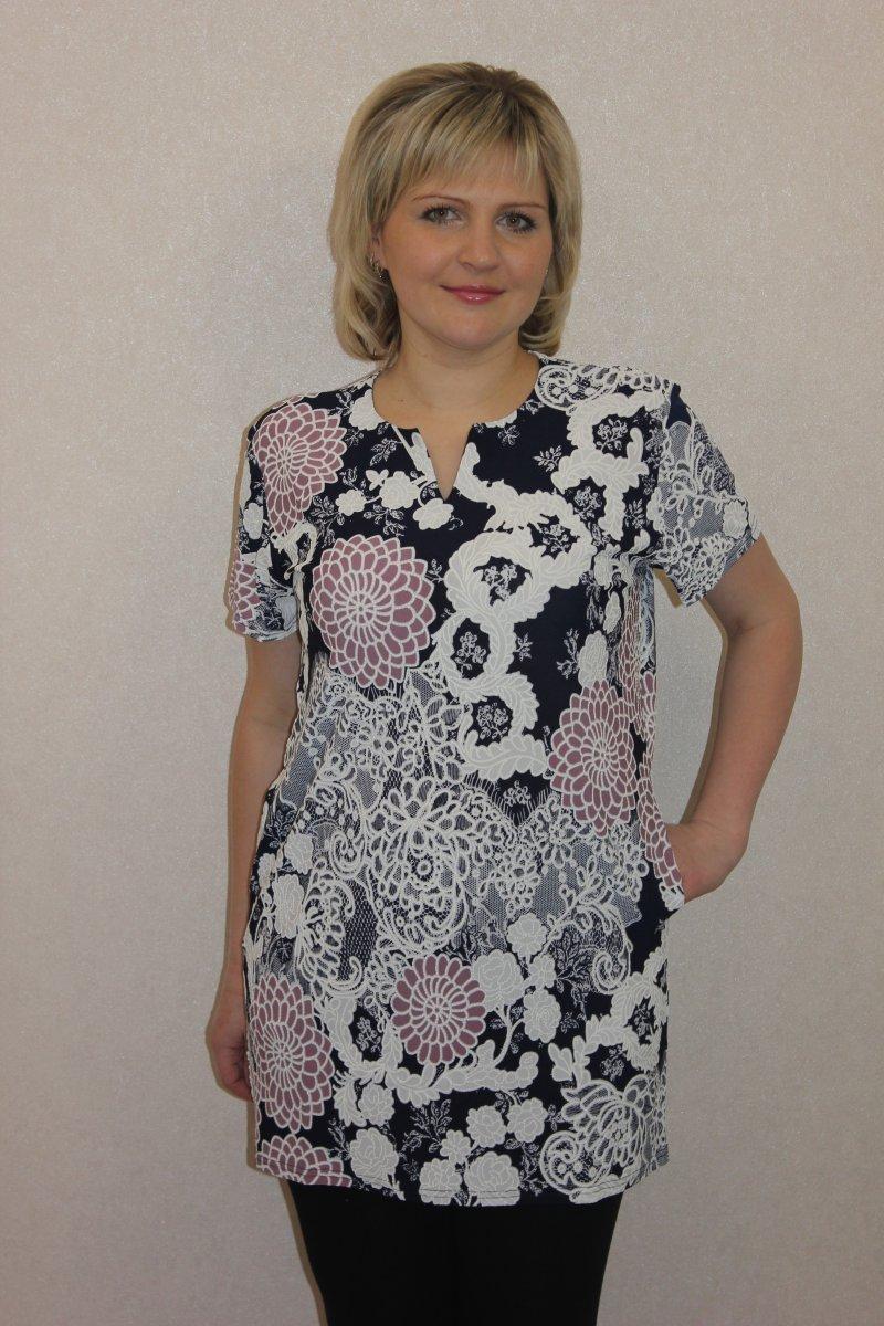 Туника женская Мирра с коротким рукавомКоллекция ВЕСНА-ЛЕТО<br><br><br>Размер: 58