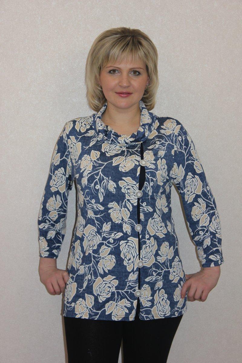 Блузка женская Иоганна с воротником хомутТуники, рубашки и блузы<br><br><br>Размер: Бирюзовый