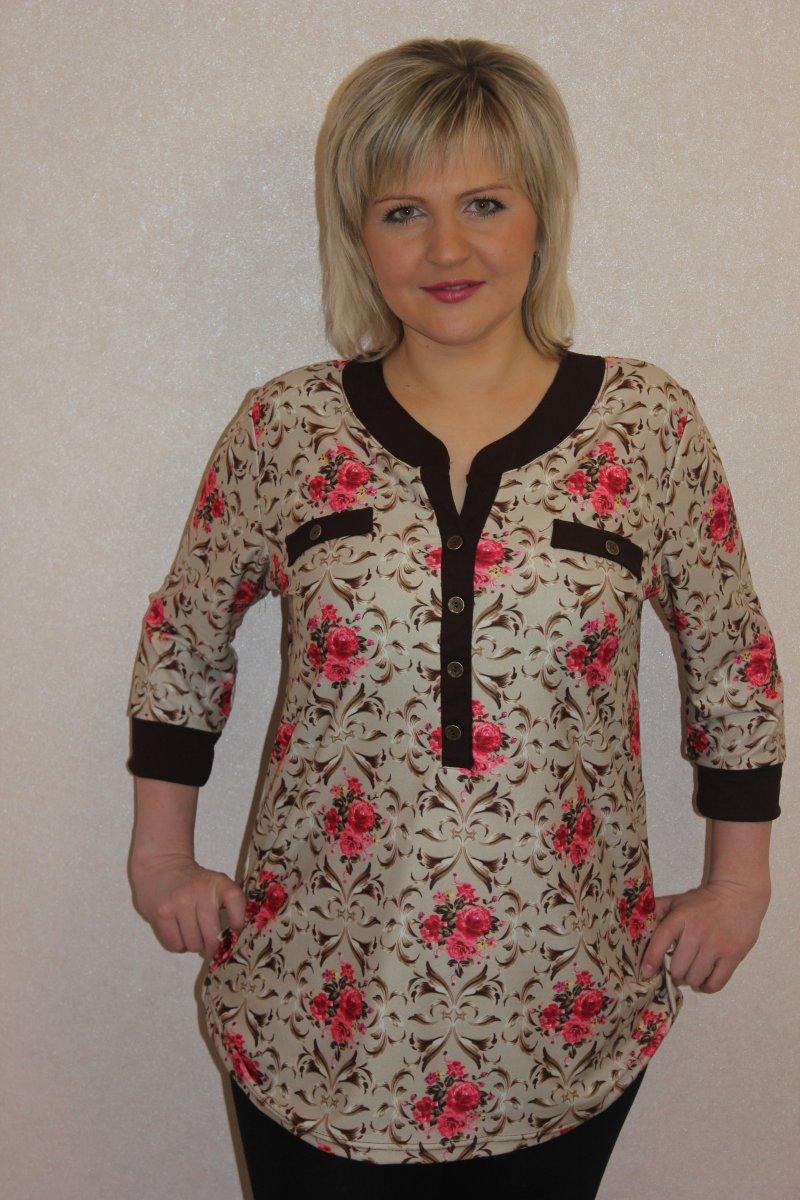 Блузка женская Ницца с рукавом 3/4Туники, рубашки и блузы<br><br><br>Размер: 52