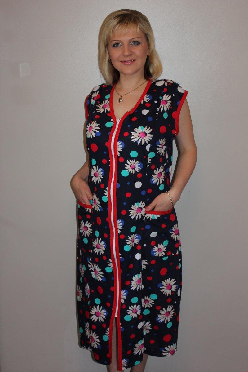 Халат женский Анна на молнииДомашняя одежда<br><br><br>Размер: 62