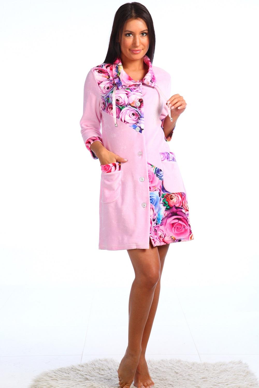 Халат женский Анжелика с отложным воротникомКоллекция ВЕСНА-ЛЕТО<br><br><br>Размер: Бежевый