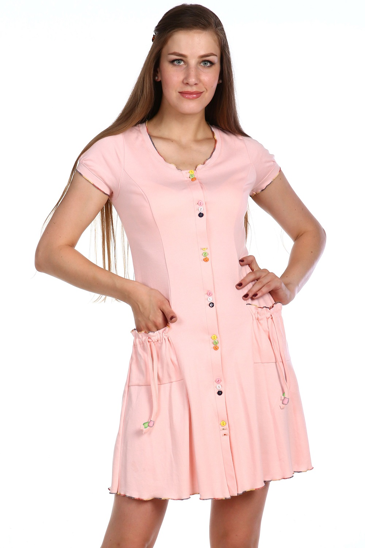 Халат женский Барышня на пуговицахКоллекция ВЕСНА-ЛЕТО<br><br><br>Размер: Розовый