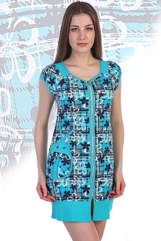 Халат женский Божья коровка на молнииКоллекция ВЕСНА-ЛЕТО<br><br><br>Размер: Голубой