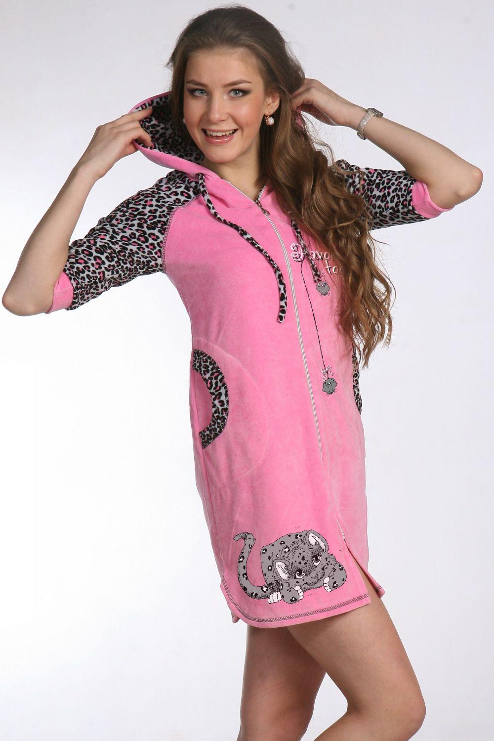 Халат женский Cheetah с капюшономКоллекция ВЕСНА-ЛЕТО<br><br><br>Размер: 44