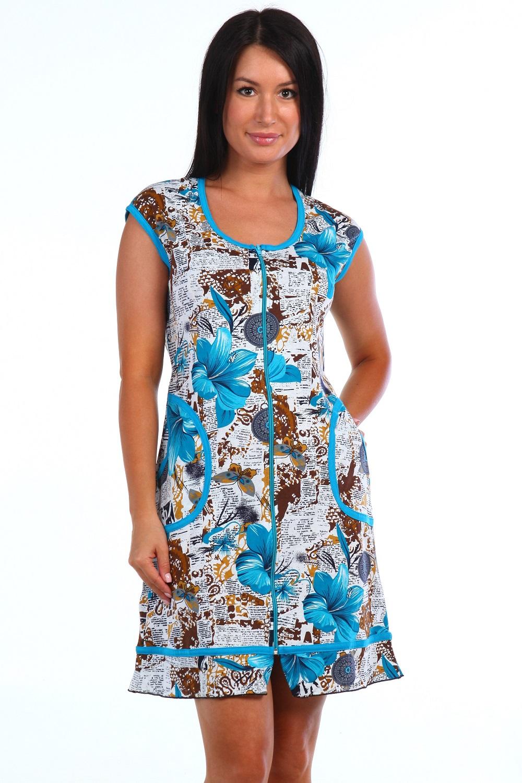 Халат женский Елена на молнииДомашняя одежда<br><br><br>Размер: Синий