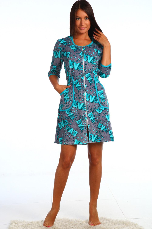 Халат женский Каталина на молнииДомашняя одежда<br><br><br>Размер: 52