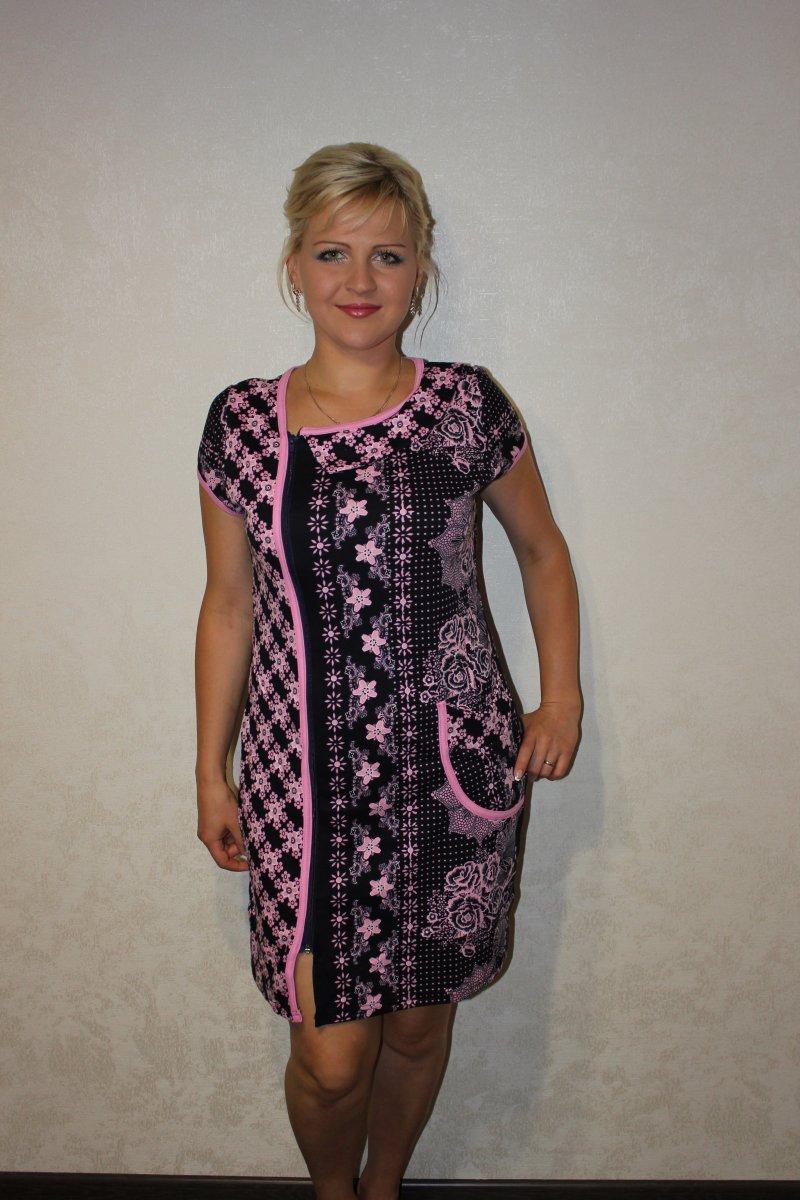 Халат женский Леля на молнииДомашняя одежда<br><br><br>Размер: 52