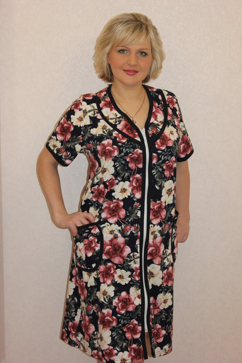 Халат женский Людмила на молнииДомашняя одежда<br><br><br>Размер: 52