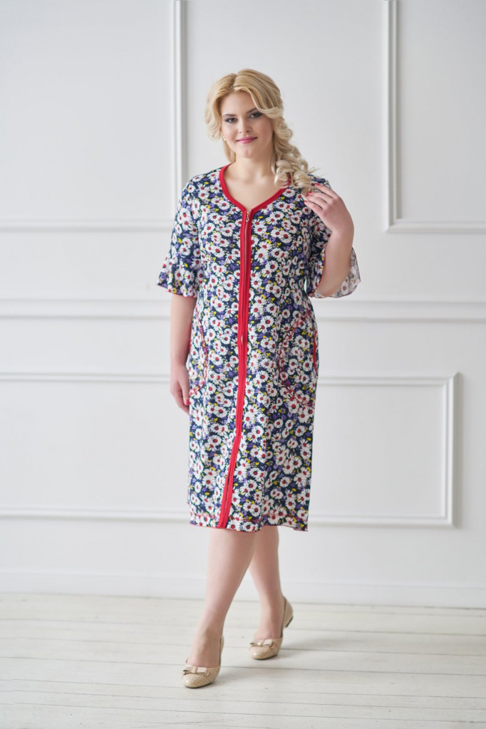 Халат женский Полюшка на молнииДомашняя одежда<br><br><br>Размер: 54