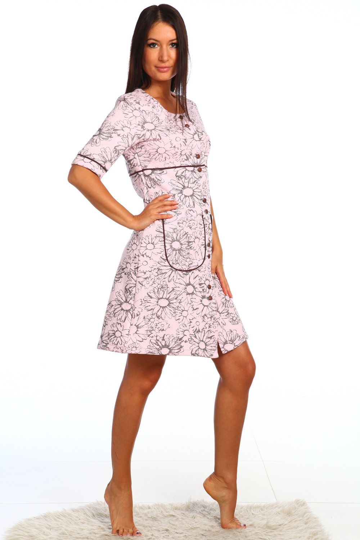 Халат женский Пудра на пуговицахКоллекция ВЕСНА-ЛЕТО<br><br><br>Размер: Белый