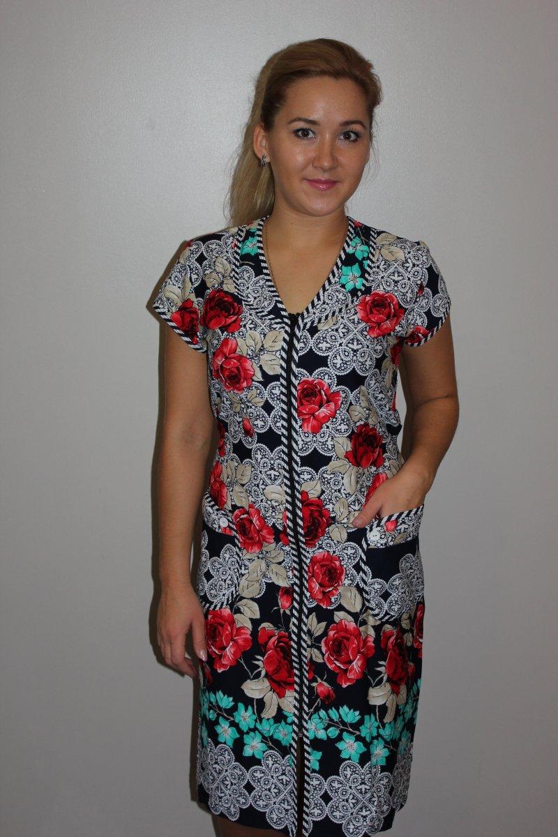 Халат женский Розита на молнииКоллекция ВЕСНА-ЛЕТО<br><br><br>Размер: 58