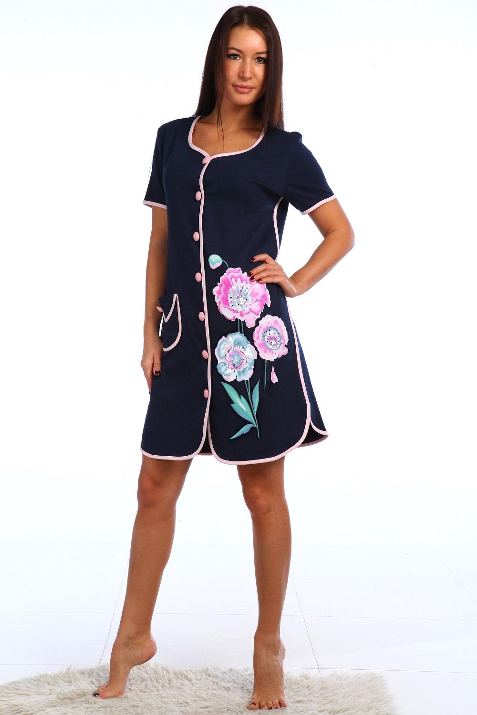 Халат женский Розовый мак на пуговицахКоллекция ВЕСНА-ЛЕТО<br><br><br>Размер: 50