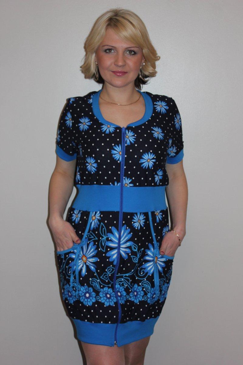 Халат женский Сима голубой на молнииКоллекция ВЕСНА-ЛЕТО<br><br><br>Размер: 52
