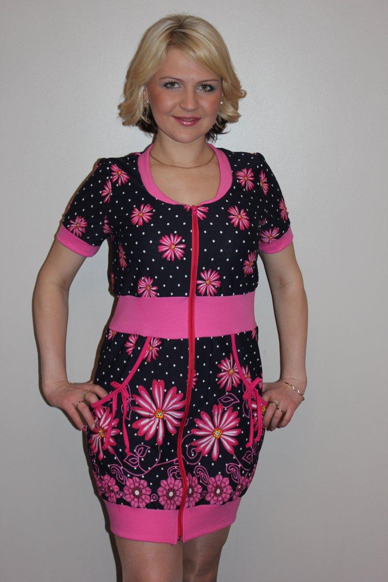 Халат женский Сима розовый на молнииКоллекция ВЕСНА-ЛЕТО<br><br><br>Размер: 48