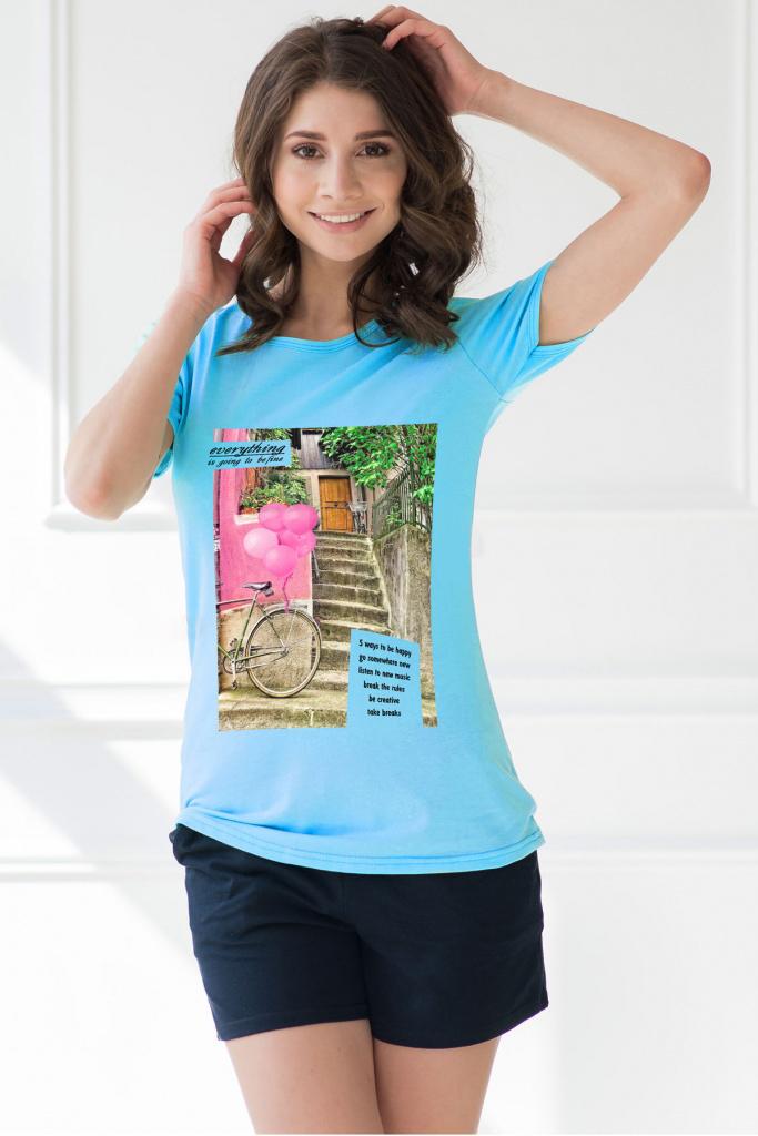 Комплект женский Be happy футболка и шортыКоллекция ВЕСНА-ЛЕТО<br><br><br>Размер: Бирюзовый