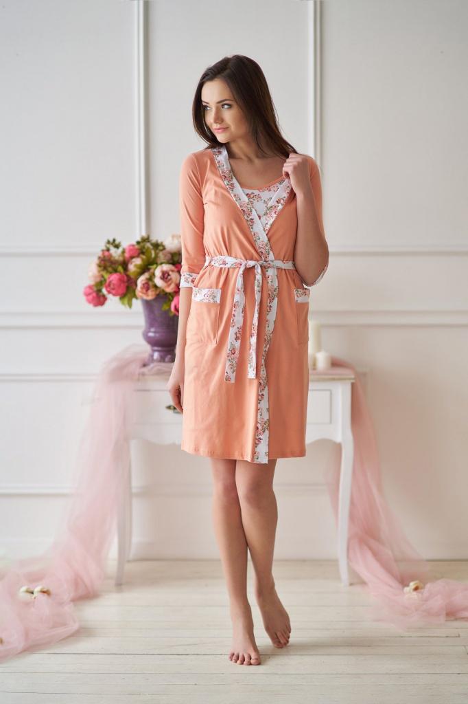 Комплект женский Белла халат и сорочкаКоллекция ВЕСНА-ЛЕТО<br><br><br>Размер: 48