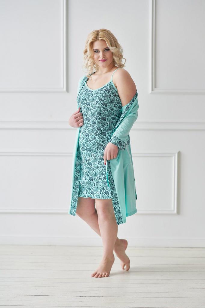 Комплект женский Импала халат и сорочкаКоллекция ВЕСНА-ЛЕТО<br><br><br>Размер: 46