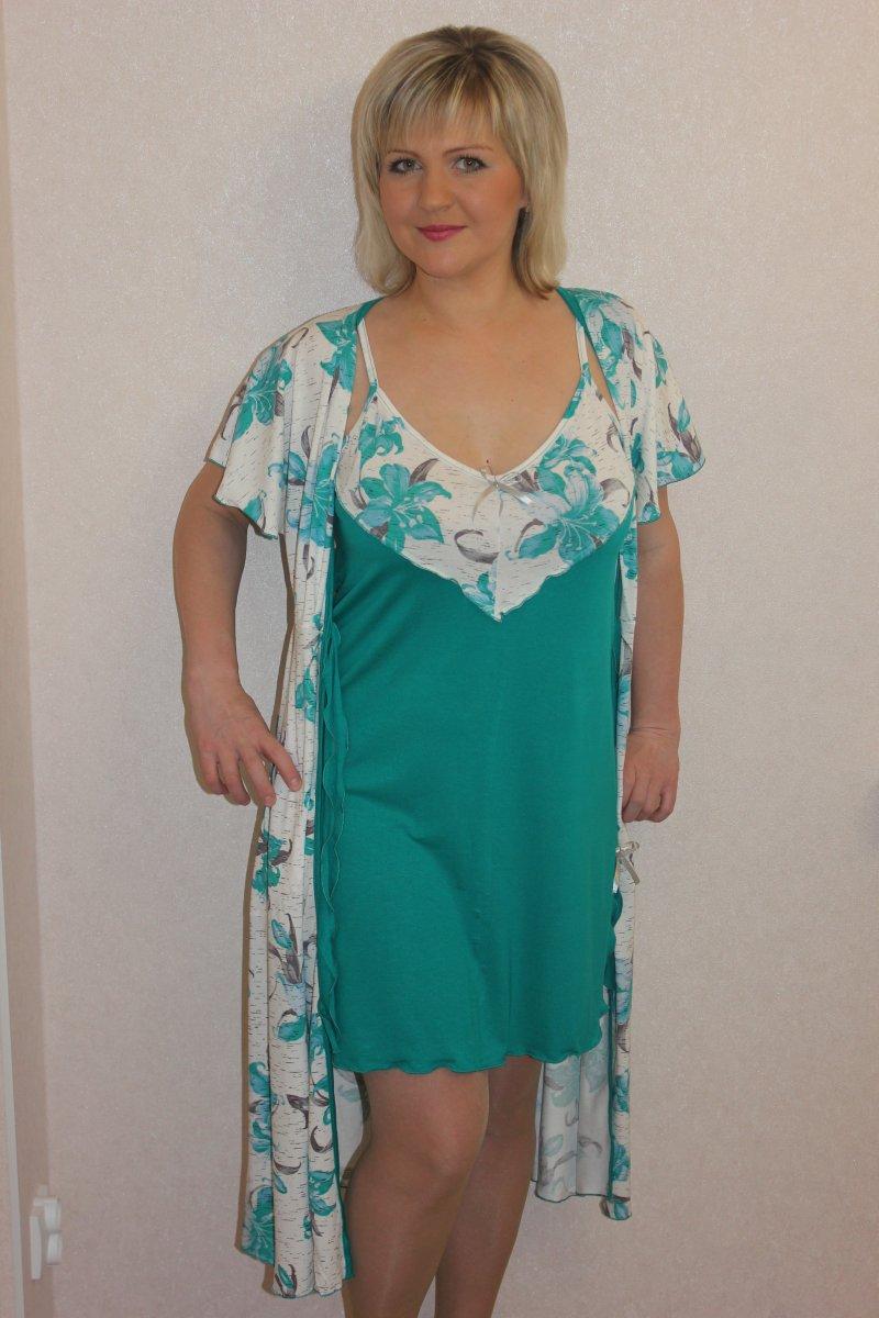 Пеньюар женский Ивика халат и сорочкаДомашняя одежда<br><br><br>Размер: 48