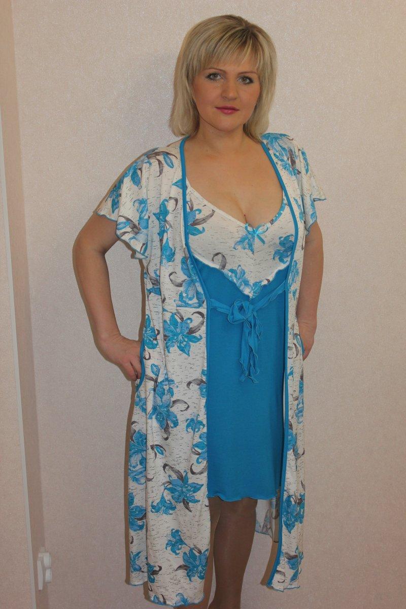 Пеньюар женский Лена халат и сорочкаДомашняя одежда<br><br><br>Размер: 54