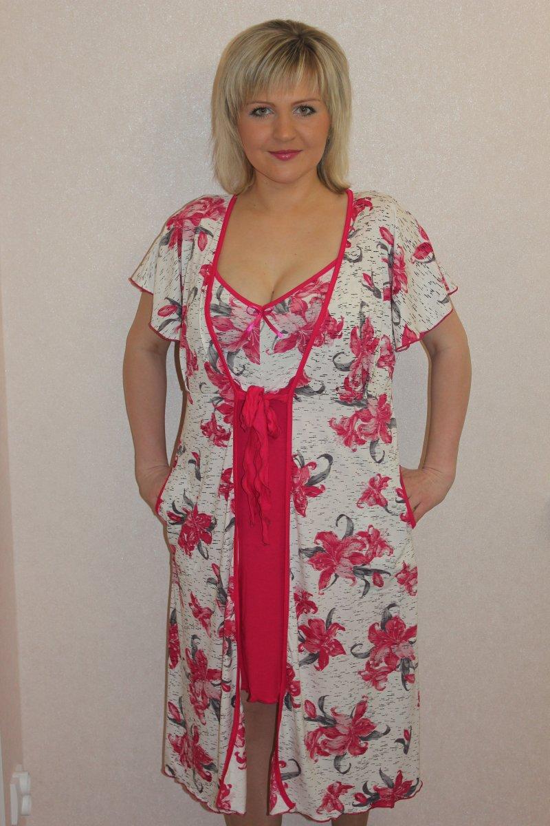 Пеньюар женский Орхидея халат и сорочкаДомашняя одежда<br><br><br>Размер: 54