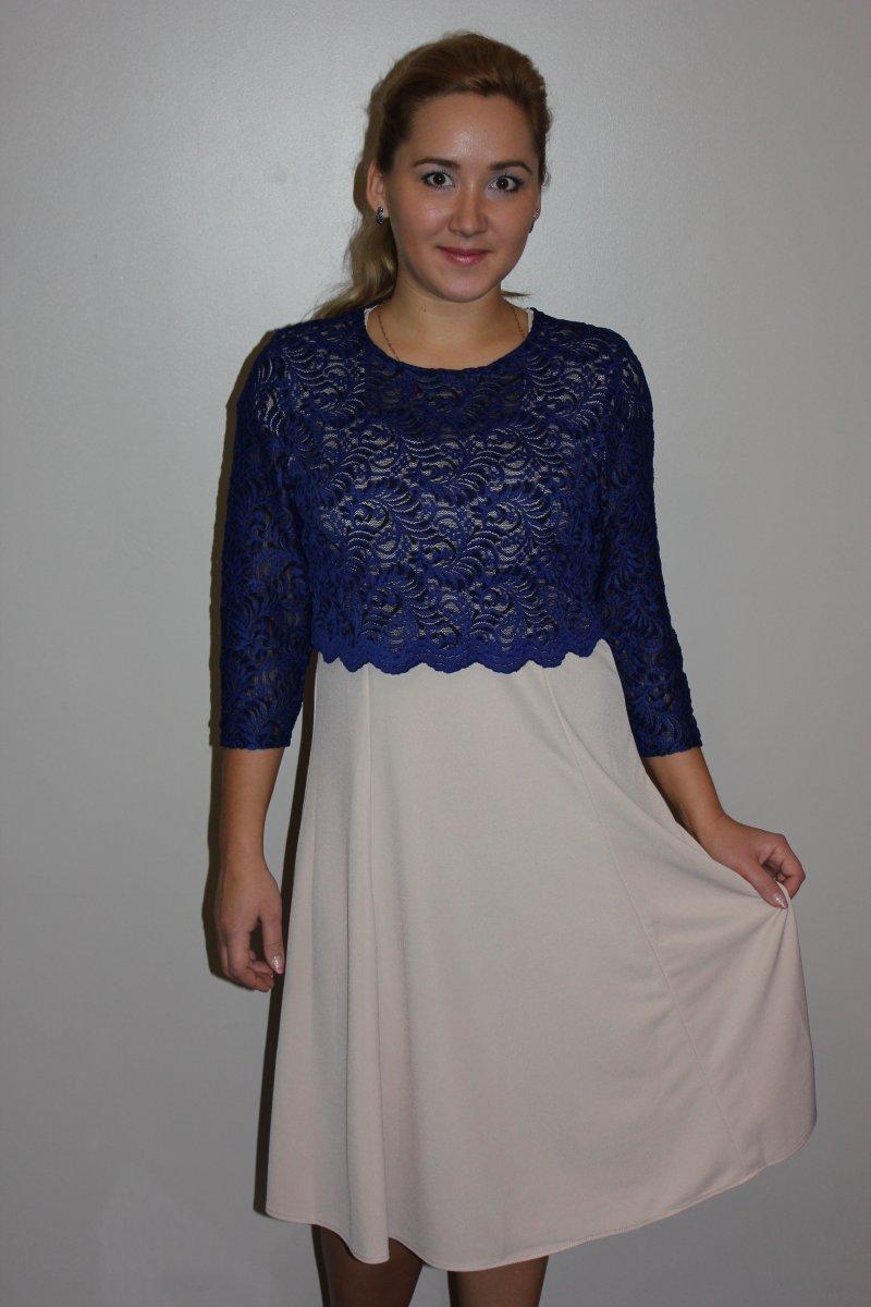 Платье женское Элизабет с кружевной кокеткойКоллекция ВЕСНА-ЛЕТО<br><br><br>Размер: 50