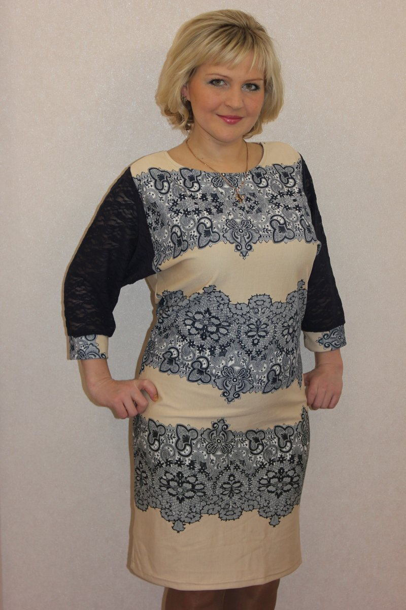 Платье женское Луиза с кружевным рукавомКоллекция ВЕСНА-ЛЕТО<br><br><br>Размер: 58