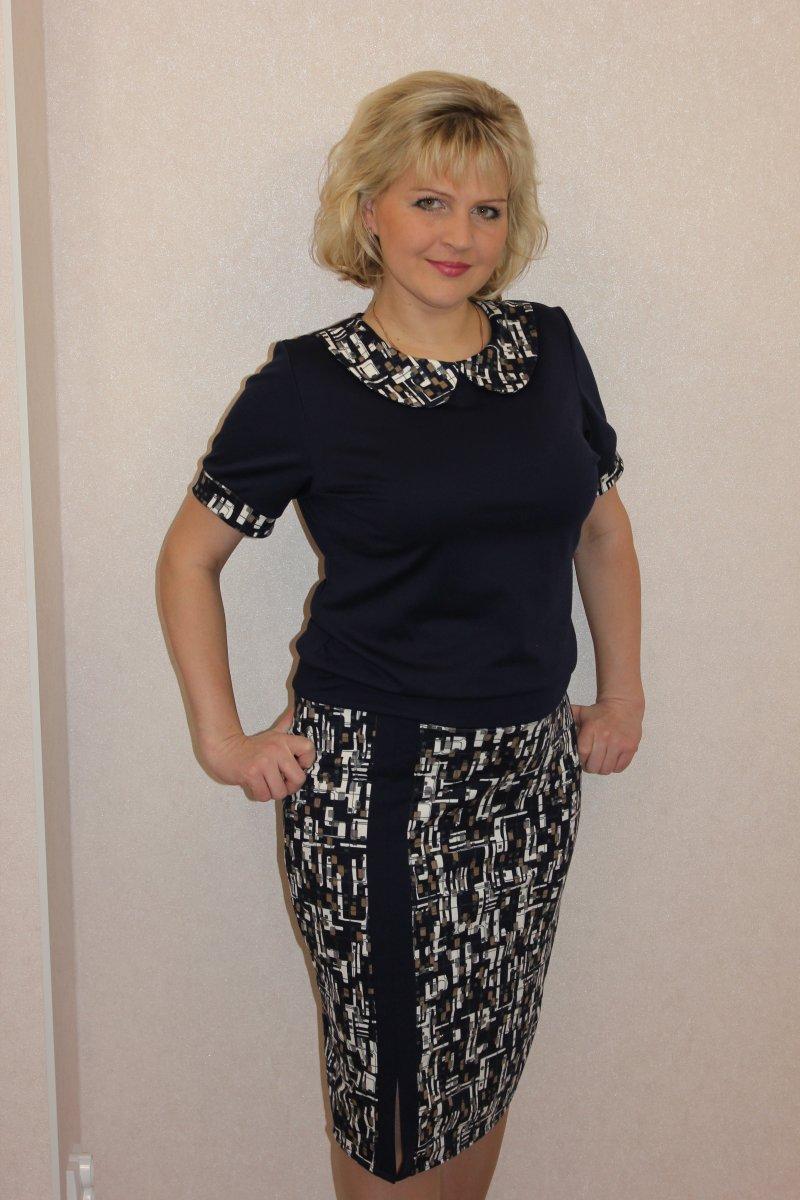 Платье женское Мегаполис с отложным воротникомКоллекция ВЕСНА-ЛЕТО<br><br><br>Размер: 46