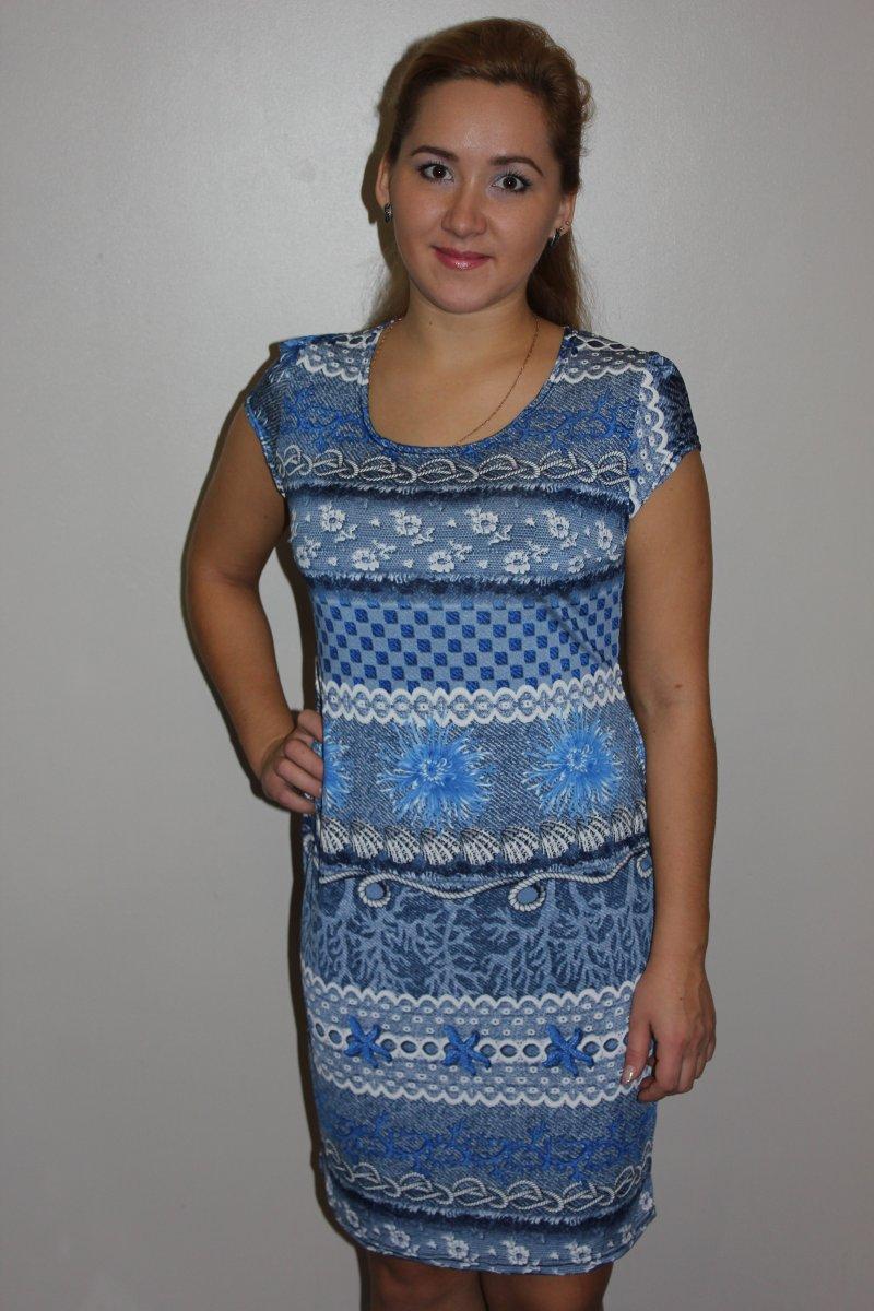 Платье женское Незабудка с коротким рукавомКоллекция ВЕСНА-ЛЕТО<br><br><br>Размер: 48