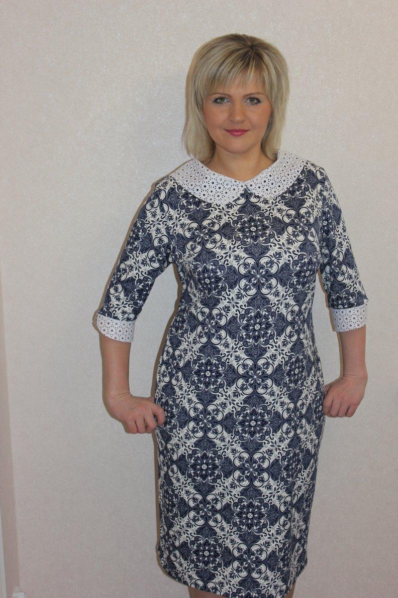 Платье женское Снежана с отложным воротникомКоллекция ВЕСНА-ЛЕТО<br><br><br>Размер: 60