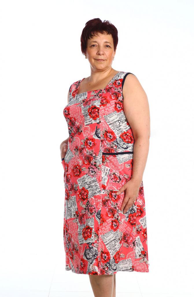 Сарафан женский Огурцы с квадратным вырезомПлатья и сарафаны<br><br><br>Размер: 48