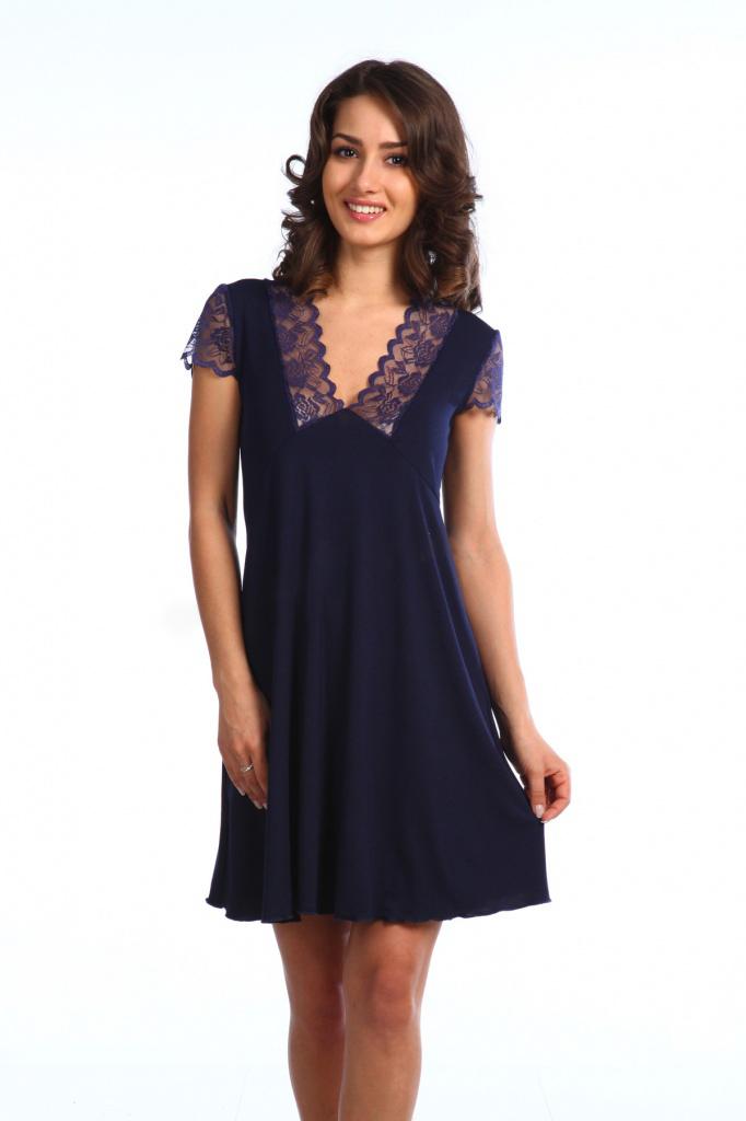 Сорочка женская Эдельвейс с кружевным рукавомКоллекция ВЕСНА-ЛЕТО<br><br><br>Размер: Чёрный