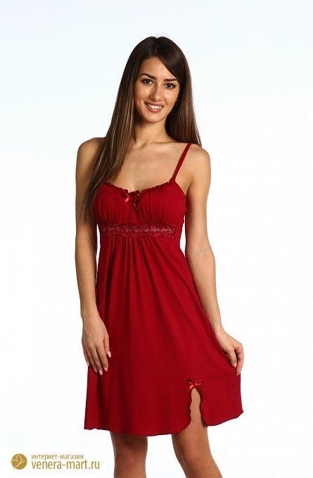 Сорочка женская Ассоль на тонких бретеляхДомашняя одежда<br><br><br>Размер: Бордовый