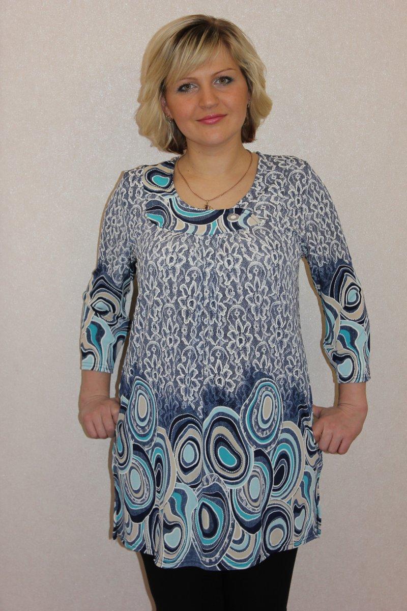 Туника женская Аквамарин с рукавом 7/8Коллекция ВЕСНА-ЛЕТО<br><br><br>Размер: 56