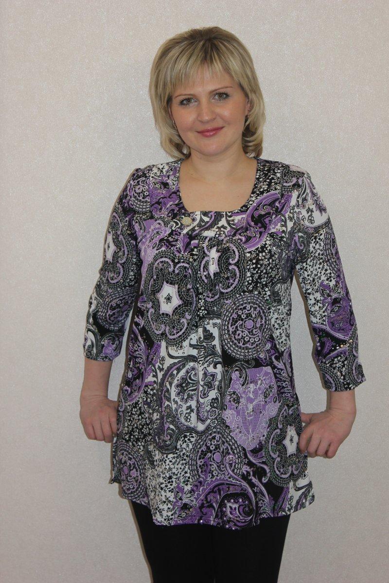 Туника женская Аметист с рукавом 7/8Коллекция ВЕСНА-ЛЕТО<br><br><br>Размер: 48