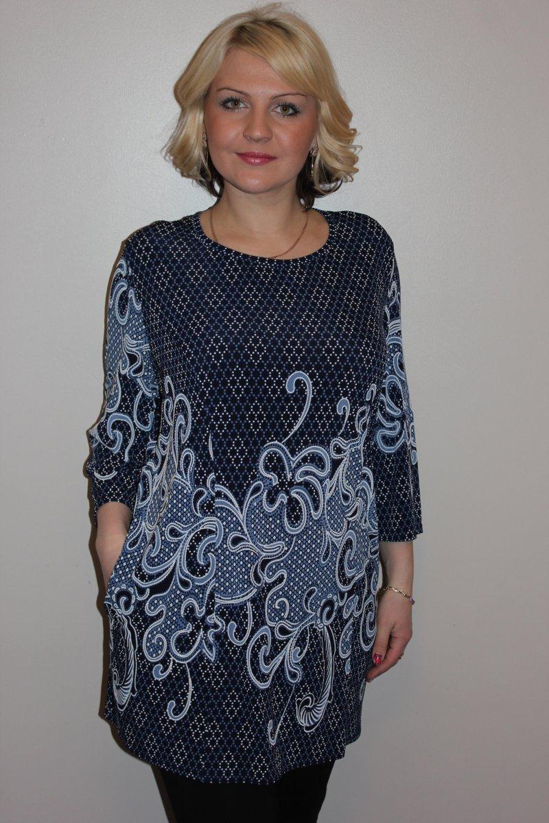 Туника женская Римма с рукавом 7/8Коллекция ВЕСНА-ЛЕТО<br><br><br>Размер: 60