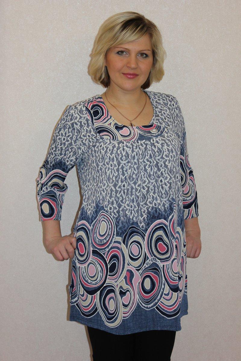 Туника женская Родонит с рукавом 7/8Коллекция ВЕСНА-ЛЕТО<br><br><br>Размер: 50
