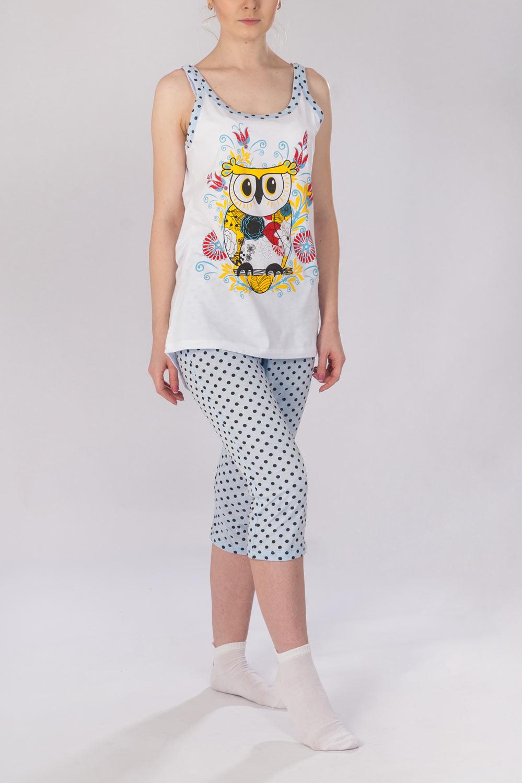 Пижама женская Сова майка и бриджиКоллекция ВЕСНА-ЛЕТО<br><br><br>Размер: 48