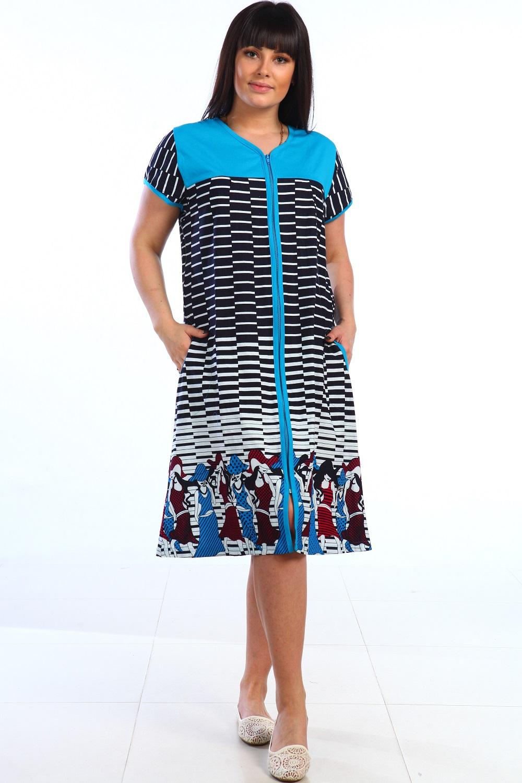 Халат женский Дарья на молнииДомашняя одежда<br><br><br>Размер: Чёрный