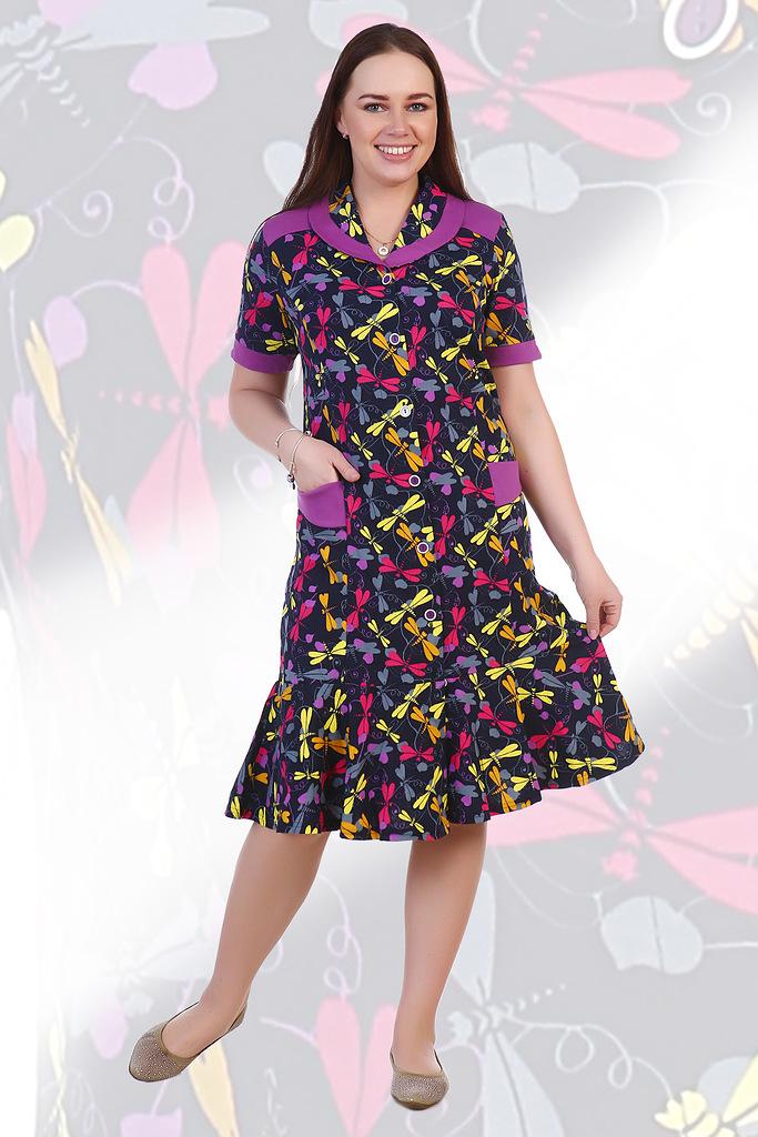Халат женский Эйприл на пуговицахДомашняя одежда<br><br><br>Размер: Стрекозы