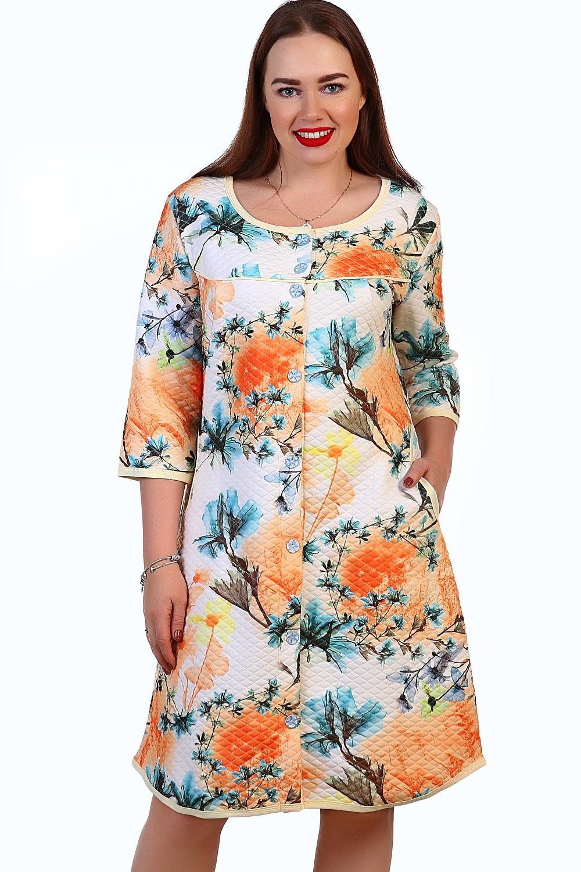 Халат женский Эмилия на пуговицахДомашняя одежда<br><br><br>Размер: Синий с розовым