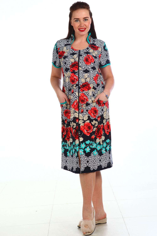 Халат женский Феня на молнииДомашняя одежда<br><br><br>Размер: Синий