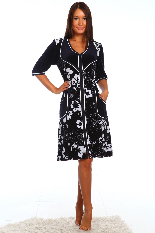 Халат женский Индийская ночь на молнииДомашняя одежда<br><br><br>Размер: 52