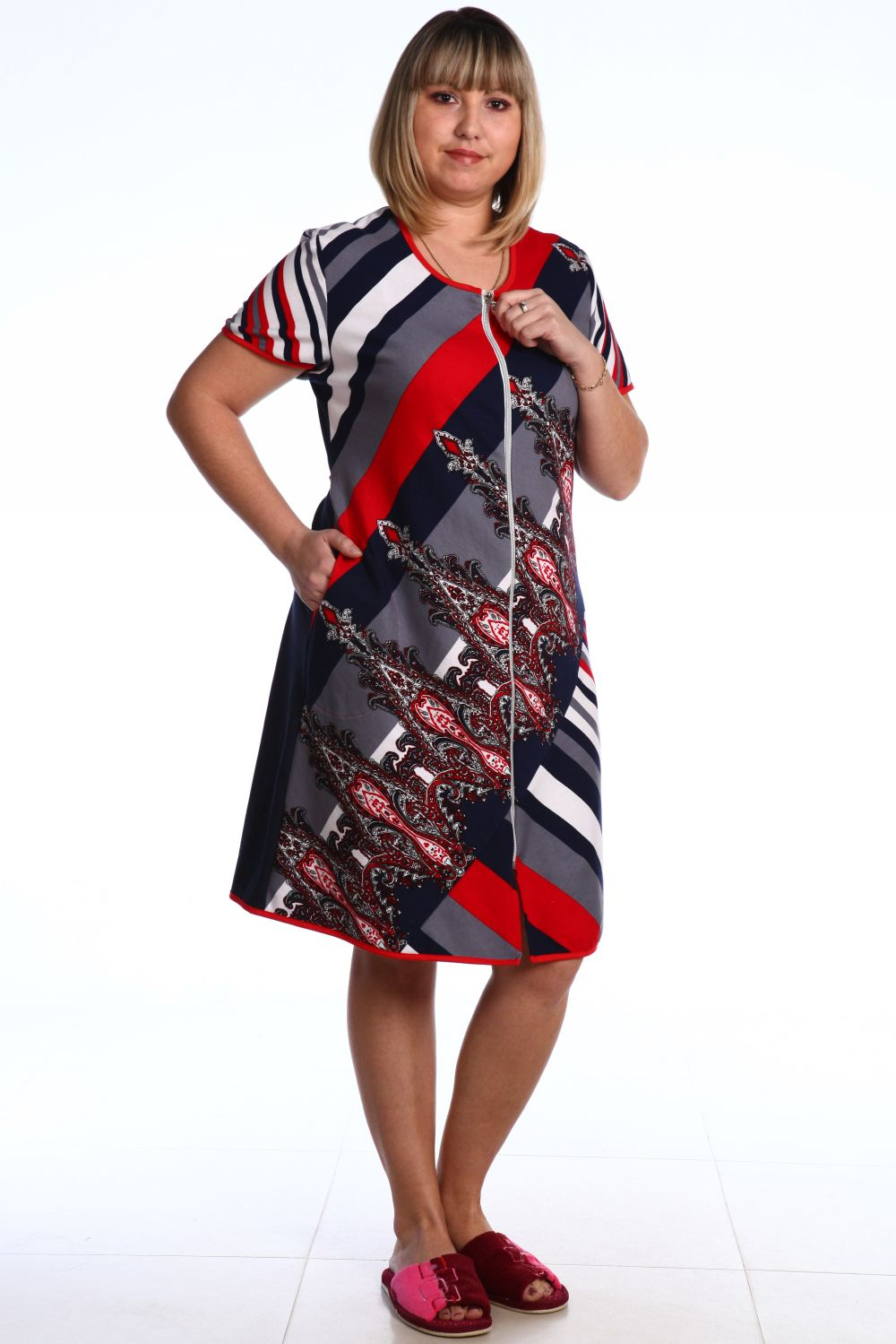 Халат женский Истра на молнииКоллекция ВЕСНА-ЛЕТО<br><br><br>Размер: 54