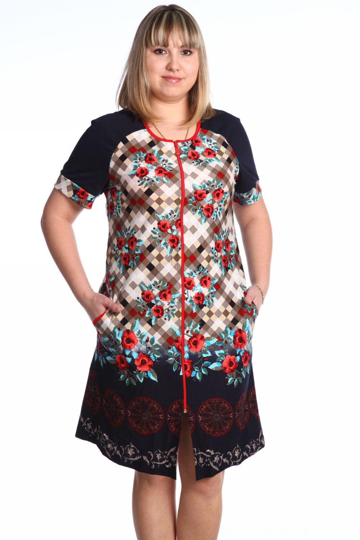Халат женский Юкка с коротким рукавомДомашняя одежда<br><br><br>Размер: 60