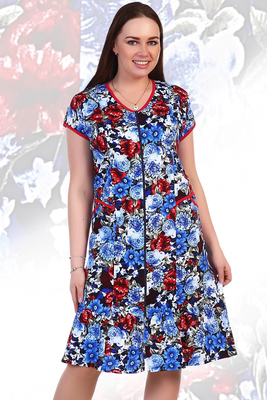 Халат женский Камертон на молнииДомашняя одежда<br><br><br>Размер: Бирюзовый